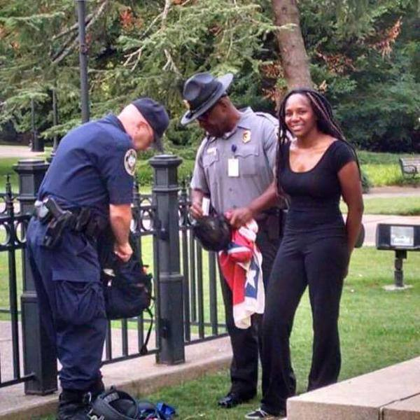 Photo of the woman who scaled the SC flagpole and pulled down the Confederate flag.